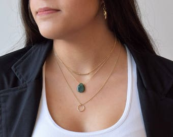 Gold Dainty Necklace, Green Agate Dainty Necklace, Green Agate Necklace, Gold filled Layered Necklace, Dainty Necklace, Green Stone Necklace