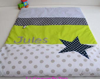 Plaid baby blanket handmade stars grey dots and lime green