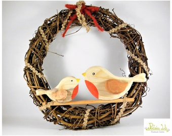 Garland with pair of reclaimed wood Robin FIR decorative object.