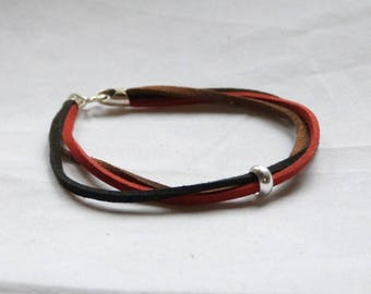 """Infinity"" bracelet mixed yarn multi leather and silver Sterling"