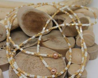 "Jewelry scarf golden brown ""Miyuki"""
