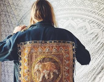 One of a kind denim jacket, elephant embellished beaded boho festival