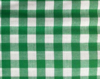 Gingham cotton fabric green Plaid by 10 cm