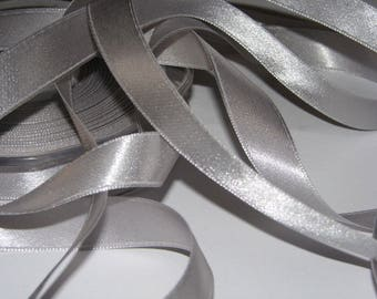 25 meters of silver 10 mm satin ribbon