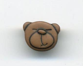 Little brown bear head button