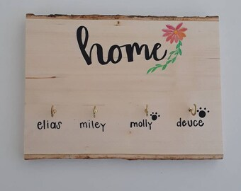 Housewarming gifts, Key Wall Hanging, Key Hanger, Dog Leash Hanger, Wooden Key Hanger, Personalized Key Hanger