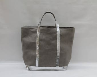 The bag in 100% linen grey-taupe
