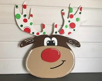 READY TO SHIP! Wooden Reindeer door hanger, Wooden reindeer sign, christmas sign, reindeer, Rudolph wooden door hanger, Rudolph wooden sign