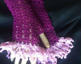 Victorian Mittens Fingerless Gloves Wristlet Gauntlet Steampunk Beaded Purple
