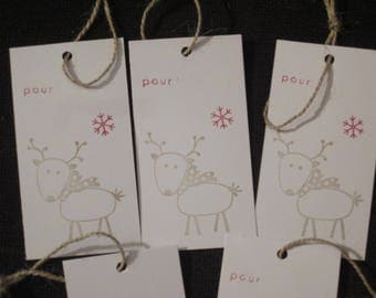 5 x large gift tags for Christmas