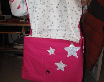 TO order - Messenger bag pink / white with pink and gray stars - customizable