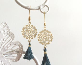 Earrings print and tassels