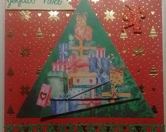 Card Merry Christmas, Christmas tree gift, 3D