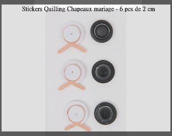 Stickers Quilling hats wedding - 6 pcs - new