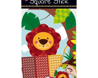 Set of mosaic adhesives for child, collage, creation, decoration, LION, new