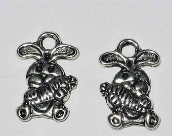 Set of 12 Bunny charms double sided silver