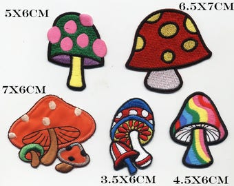 5 MUSHROOMS multicolor badges collection or for other applique