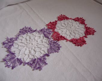 Duo doilies handmade white cotton fringes