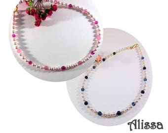 Traditional Pearl Necklace and Crystal Alissa