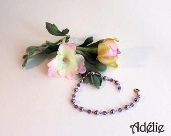 Bracelet enameled gold plated beads Adelie