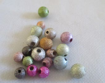 set of 20 stardust beads different colors and 2 sizes