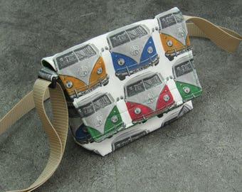 VW campervan patterned fabric, small messenger bag,adjustable strap, multicoloured, unique!!