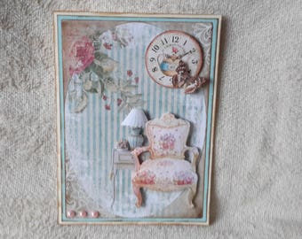 Small shabby vintage greeting card