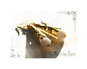 Gold Vintage milky white Crystal drops earrings