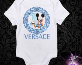 Versace Blue Baby Mickey Mouse Onesie First Birthday Outfit | Babyshower Gift | keepsake onesie | Designer Inspired