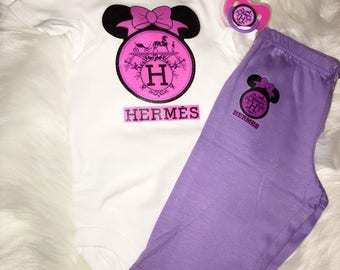 3 Piece Pink Minnie Mouse Baby Girl Set | Designer Inspired| Onesie, Pants, & Pacifier