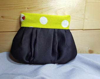 Little black clutch and anise with big polka dots