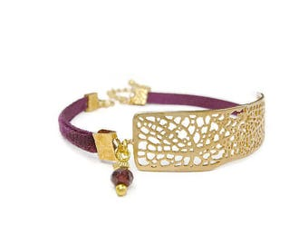 Gold plated bracelet satin Burgundy velvet and contemporary