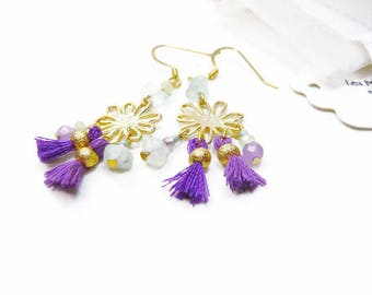 Boho-chic earrings gold plated, purple violet and pale sea green