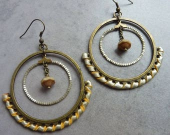 Earrings Creole champagne leather SNAKE