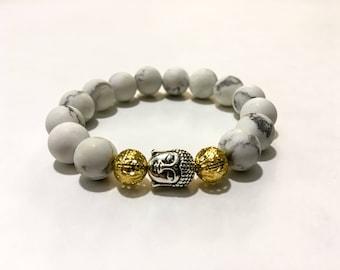 Howlite Buddha Meditation Stacking Bracelet