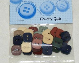 "Novelty buttons - ""Quilt"" country 30"