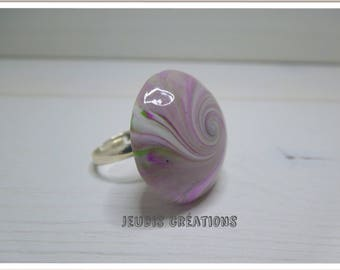 Ring adjustable polymer clay purple and green swirl