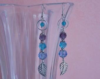 Miriel silver, blue & purple crystal earrings ❤