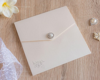 Handmade Pocketfold Wedding Invitation Classic