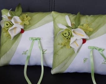 Lime green cushion duo