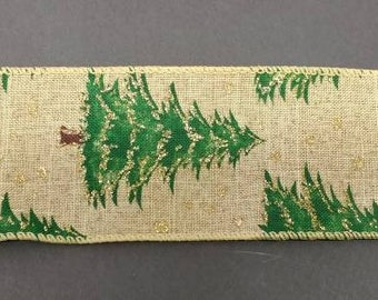 "FREE SHIPPING- 2.5"" Wired Natural Linen Christmas Tree Ribbon with Gold Glitter Accent - 5 Yards"