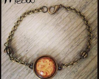 """Bracelet in bronze """"Psychedelic"""" in Orange"""