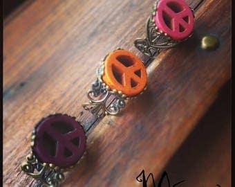 """Bronze ring """"Dragon"""" pink"""