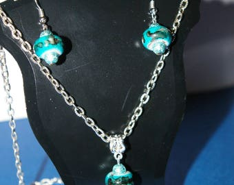 Set earrings and necklace beads blue europeean charms