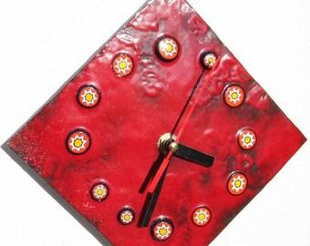 enamel on copper clock
