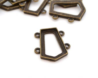 1 connector arrow bronze support cabochon metal 26x23mm