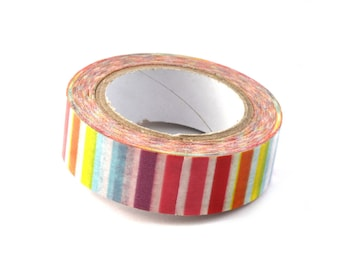 masking tape washi with multicolored stripes
