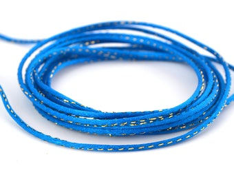 Cord round blue and gold rat tail 2mm polyester