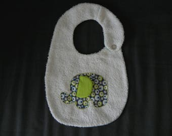 White Terry cloth bib, applied elephant