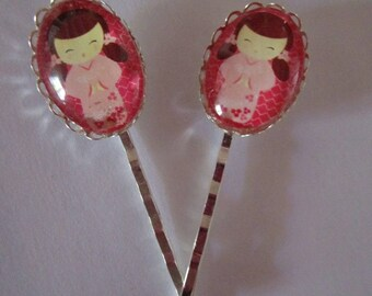 2 tone glass Brown cabochon pink kokeshi clips hair clips